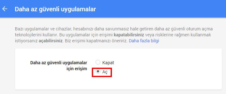 gmail smtp ayarları