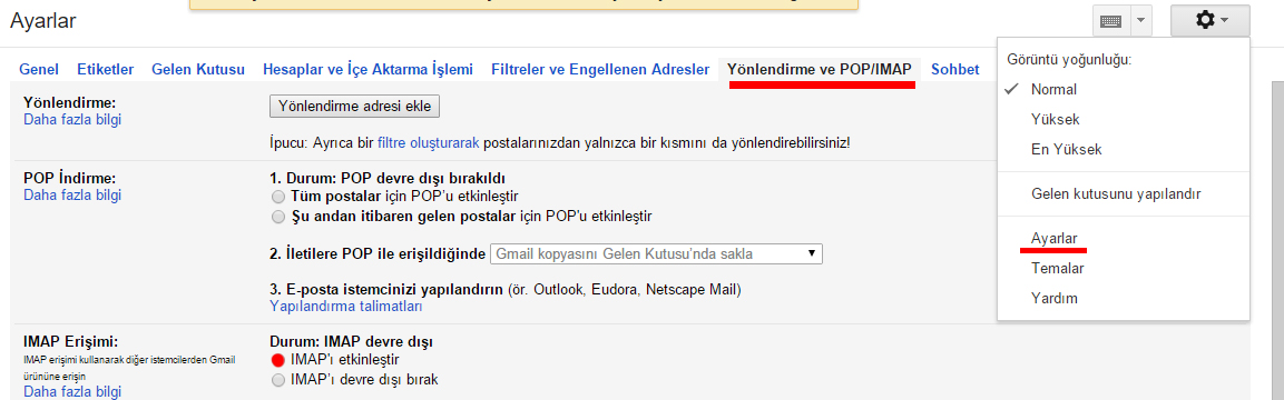 smtp gmail ayarları
