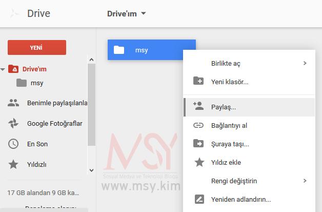 google drive paylaşım